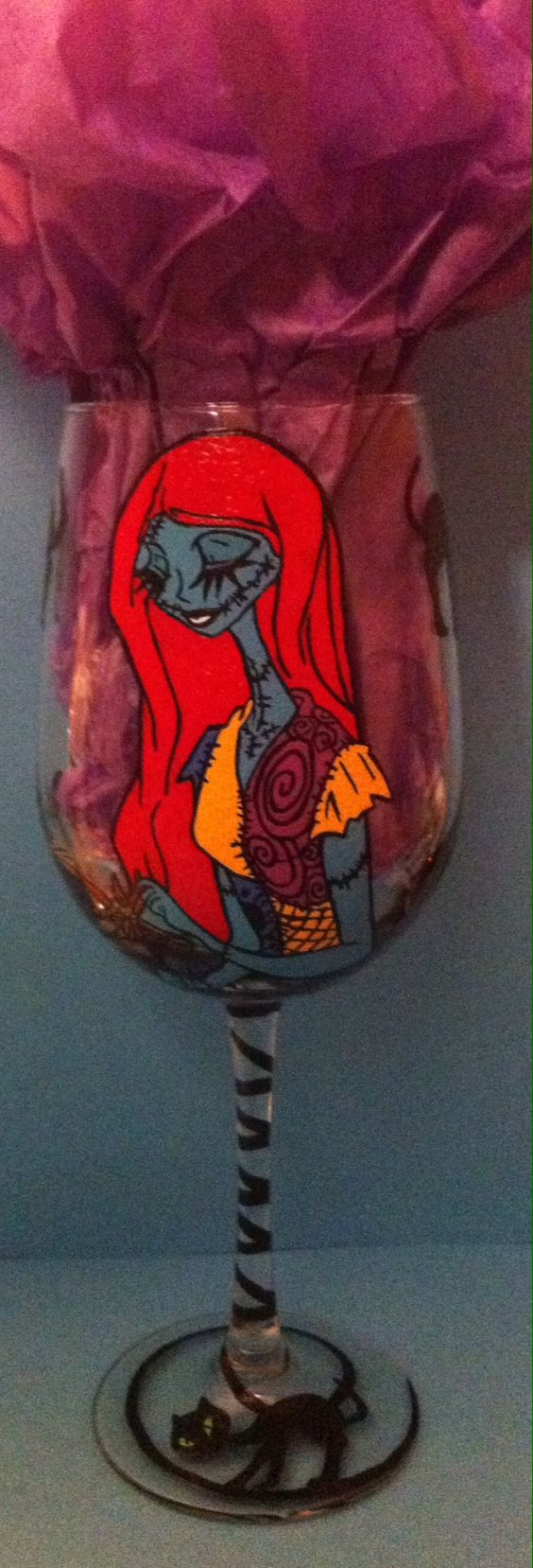 Sally From The Nightmare Before Christmas Hand Made By Allyson Prince Http Www Etsy Com Shop Painted Wine Glass Painted Wine Glasses Hand Painted Glassware