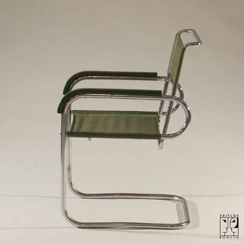 Freischwingender Stahlrohrsessel von Marcel Breuer im Originalzustand - Bild 2