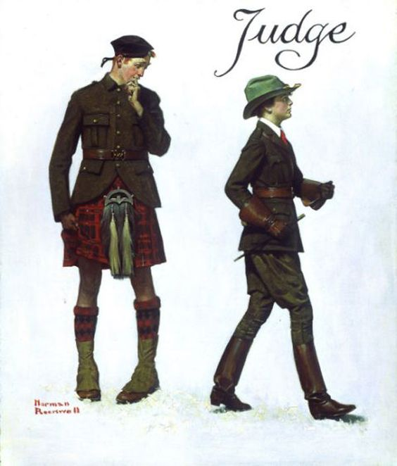 """Petticoats and Pants"" by Norman Rockwell. Man in Kilt perplexed by woman in riding habit."