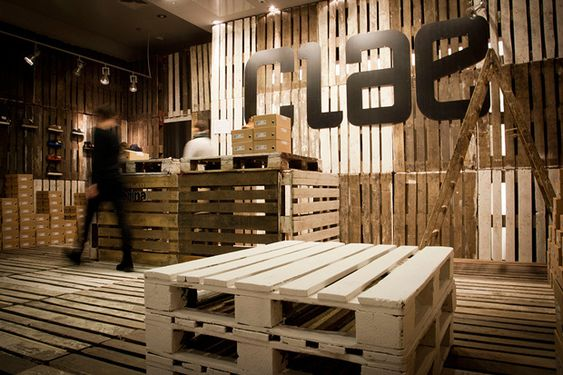 A pop up store from crates... Image of CLAE Pop-Up Store by mode:lina
