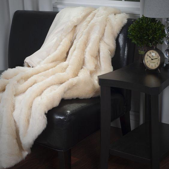 House of Hampton Oliver Faux Fur Throw Blanket & Reviews | Wayfair