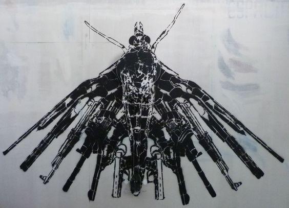 """Stencil dentro e fora da galeria na exposição """"Navalha"""""""