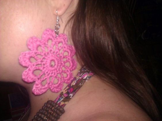 Pink crochet mandala, doily earrings ~ DoilyDesigns