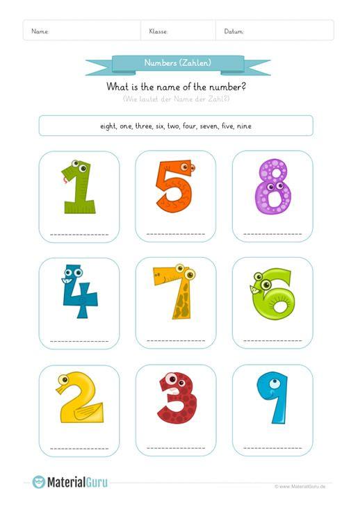 Neu Ein Kostenloses Englisch Arbeitsblatt Zum Thema Zahlen Numbers Fur Die Grundschule Auf Dem Die Kinder D Englisch Lernen Englisch Grundschule Englisch