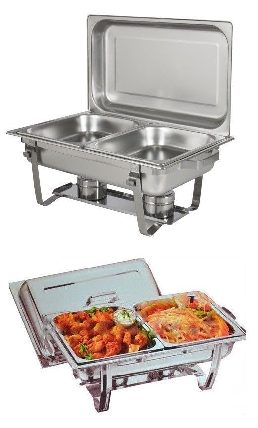 8 5l Double Pan Chafing Dish Set Food Warmer Buffet Twin Food Pans