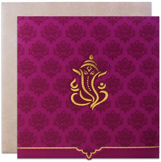 Hindu wedding card with ganesha image in orange handmade paper regalcards now showcasing this neatly designed hindu wedding invitation card prices just stopboris Gallery