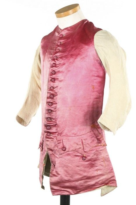 Long sleeved waistcoat, 1760s. Pink silk satin, fabric covered buttons, linen sleeves and linen lining.