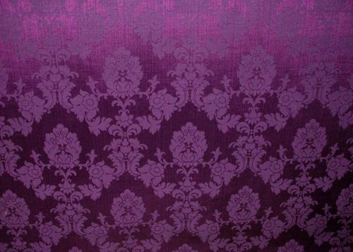 Vintage Damask Pattern Design Purple Velvet Upholstery Curtain Furnishing Fabric