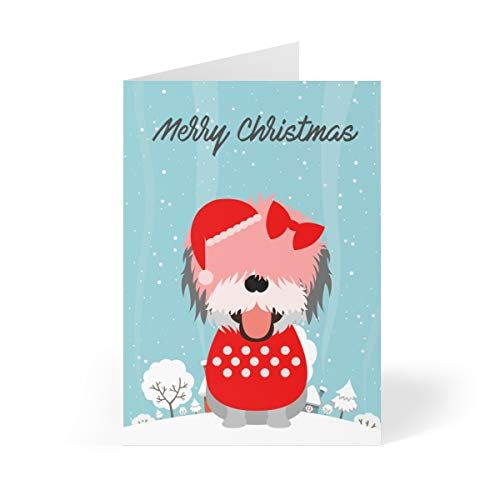 Bearded Collie Dog Cartoon In Snow Christmas Holiday Greeting Cards 5 X 7 Inches Set Cartoon Christmas Cards Dog Greeting Cards Christmas Holiday Greetings
