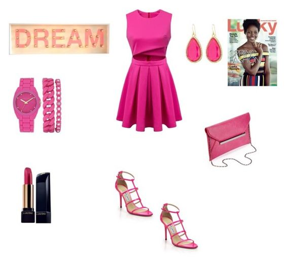 """""""Dream in Pink"""" by fredericaehimen on Polyvore featuring Anne Klein, Kate Spade, Jimmy Choo and Lancôme"""