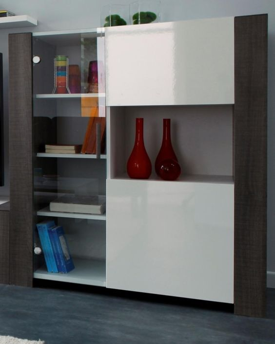 Montreal Bicolour Display Cabinet In White High Gloss And Liquorice Oak Foil Veneer