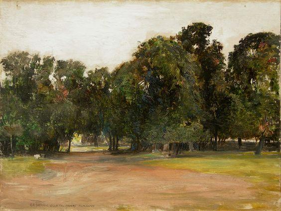 GIULIO ARISTIDE SARTORIO ( Roma 1860 - 1932 ), Il giardino di Villa Falconieri a Frascati.: