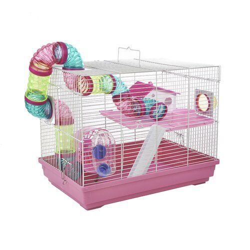 Hugo Hamster Cage In Pink Little Zoo Pet Bird Cage Small Animal