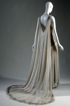 Court presentation gown, 1938, Vionnet.  Grey silk chiffon with rhinestones and silver beads.  FIT Chic Chicago exhibit.
