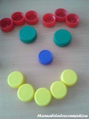 cara sonriente con tapones de plstico reciclado plastic bottle caps smiling face