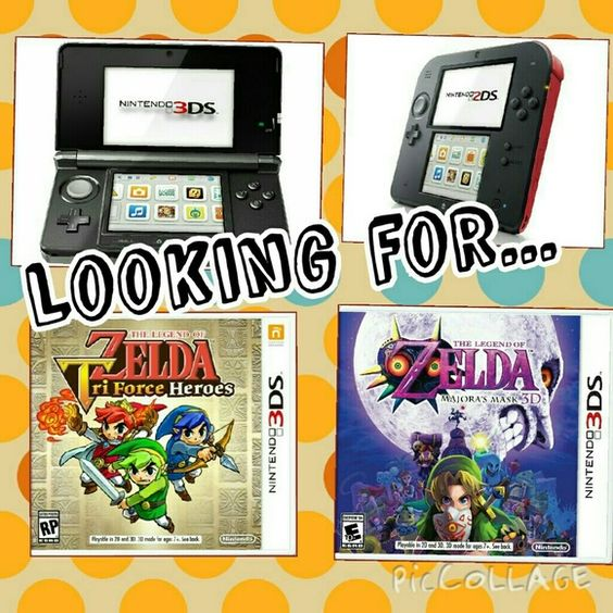 ISO : Looking for.... EDIT: found one for my little sister, thanks so much for helping me out : ) I'll leave the listing up so people looking for their own 3ds can find one too (also, I'm still looking for games, so if you have some, hmu) ----- Looking for any of the following:  3ds, or ds games ( specifically majoras mask for the 3ds, pokemon x , y omega ruby, or sapphire, tomodachi life, mario cart 7, triforce heroes, or any other legend of zelda games besides ocarina of time and a link…