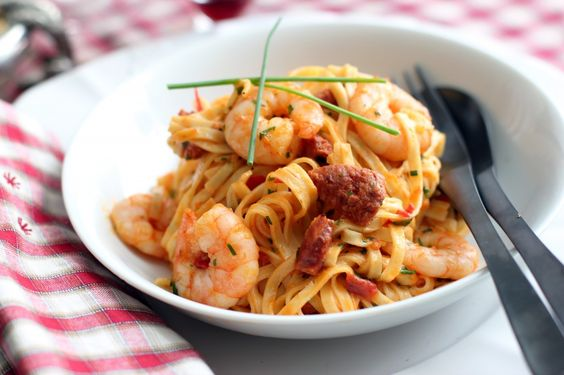 Chorizo, Shrimp and Linguini ... Thinking about orzo and chunking the shrimp for a picnic dish