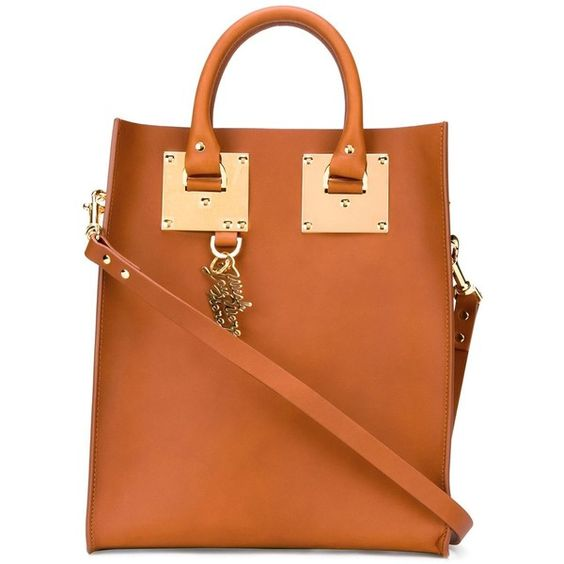 Sophie Hulme Mini Albion Tote ($938) ❤ liked on Polyvore featuring bags, handbags, tote bags, brown, brown leather purse, orange tote bag, brown leather handbags, orange leather tote bag and orange leather tote