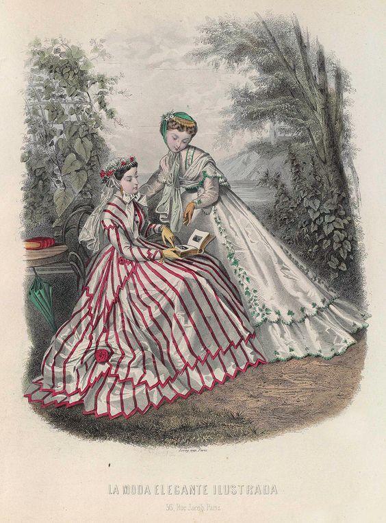 """decimonono: """"  1866. La moda elegante ilustrada. Traje de sultana blanca con listas encarnadas. —El zagalejo, igual al traje, termina en puntas y va orlado con cinta encarnada; el traje, más corto, va..."""