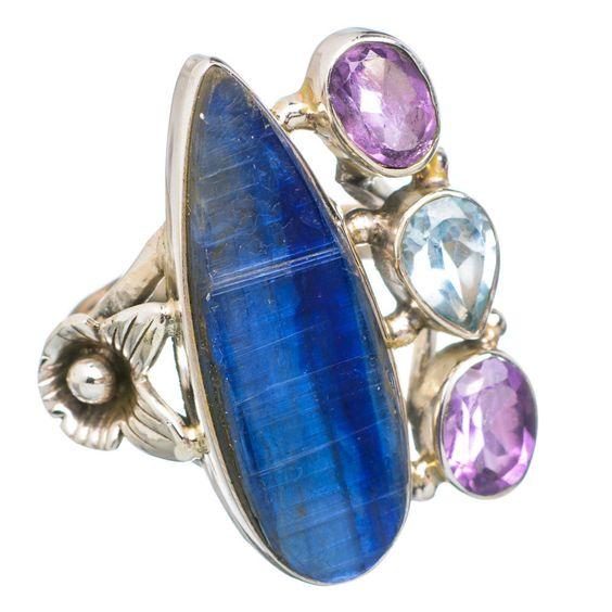 Rare Kyanite Flower, Amethyst, Blue Topaz 925 Sterling Silver Ring Size 7 RING753236