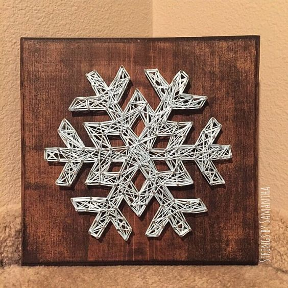 snowflake string art sign by stringsbysamantha to sell. Black Bedroom Furniture Sets. Home Design Ideas
