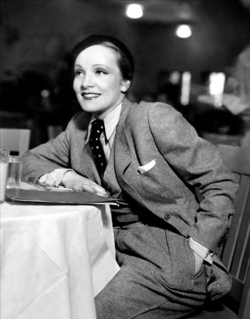 Marlene Dietrich: another iconic tomboy of yesteryear--when this was much harder to get away with.: