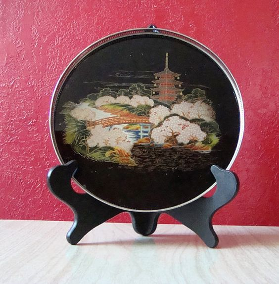 Black Lacquer Glass & Silver Metal Asian Serving Tray by kitschbitchvintage