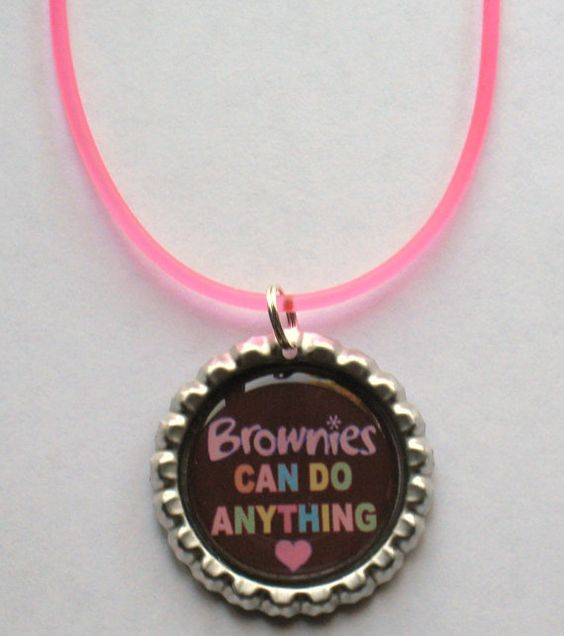 8 Boutique Girl Scout Brownies Can Do Anything Bottlecap Necklace For a Troop