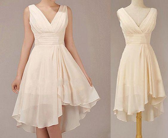 Champagne bridesmaid dress short bridesmaid dress by for Short champagne wedding dress
