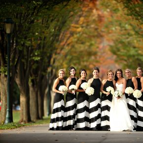 Featured on The Knot | Bride Kieran's Romona Keveza gown RK538 coordinates perfectly with her bridesmaids in chevron!