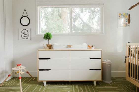 Modern Nursery with White Dresser
