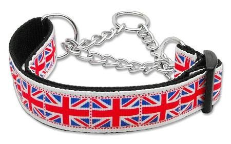 Tiled Union Jack(UK Flag) Nylon Ribbon Collar Martingale Medium