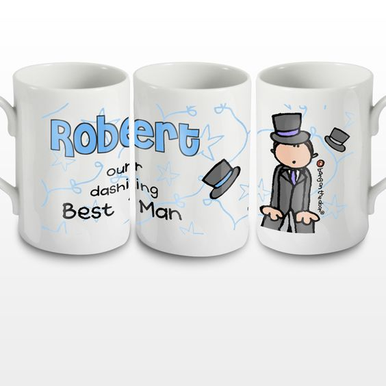 Fun gift for your best man! Personalised Bang on the Door Wedding Male Mug - Olive and Finch
