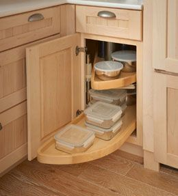 Storage solutions details base blind corner w wood lazy for Kraftmaid storage solutions