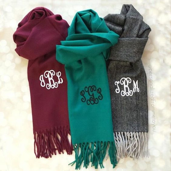 Cute monogrammed scarves for cold weather!