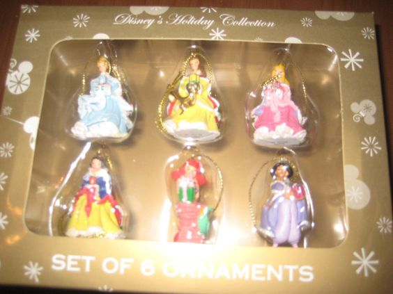 NEW Set of 6 Disney Princess Christmas Holiday Miniature Ornaments Collection