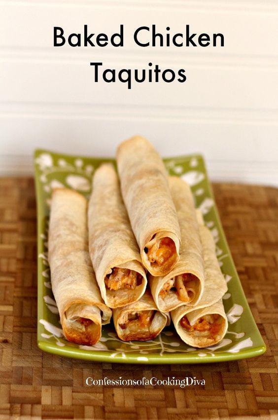 Baked Chicken Taquitos | Recipe | Salsa, Cilantro and Cream