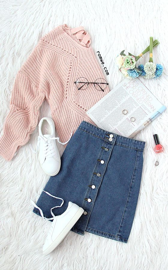 Pink Geometric Pattern Hollow Knit Sweater: