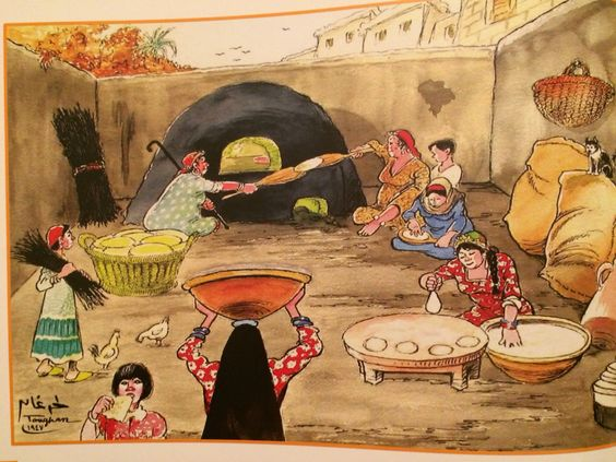Day of Baking at countryside by the artist Ahmed Toughan , 1947