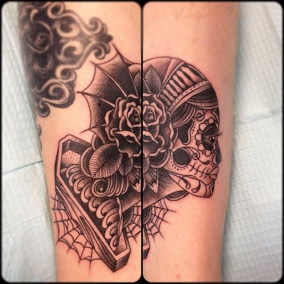 two piece tattoo by Silas at RockSteady Tattoo