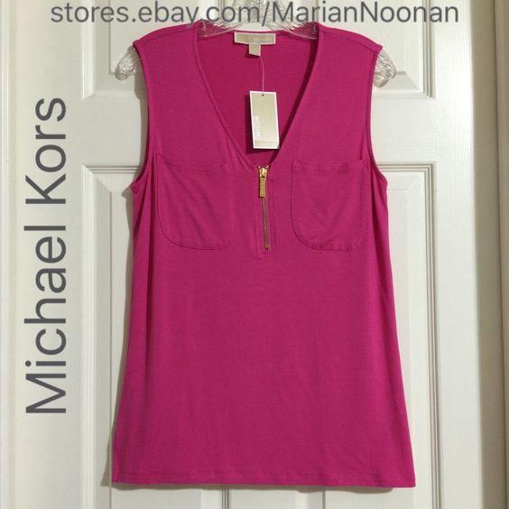 NEW Michael Michael Kors Cerise Pink Top Blouse Shirt Medium #MichaelKors #Blouse