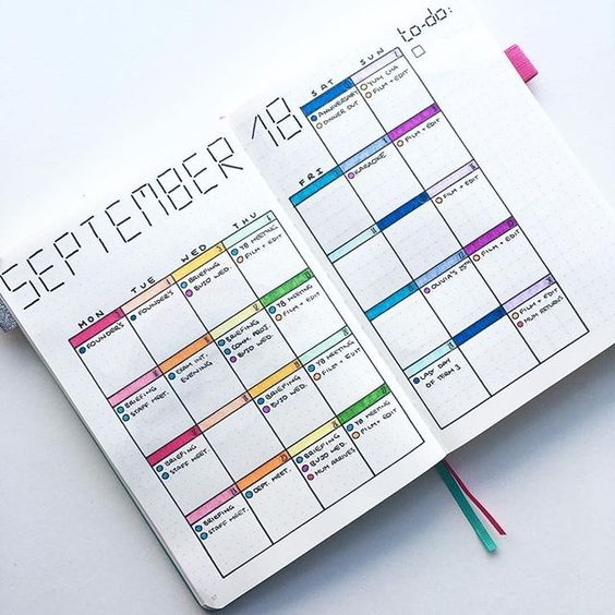 Rainbow Monthly Log Bullet Journal