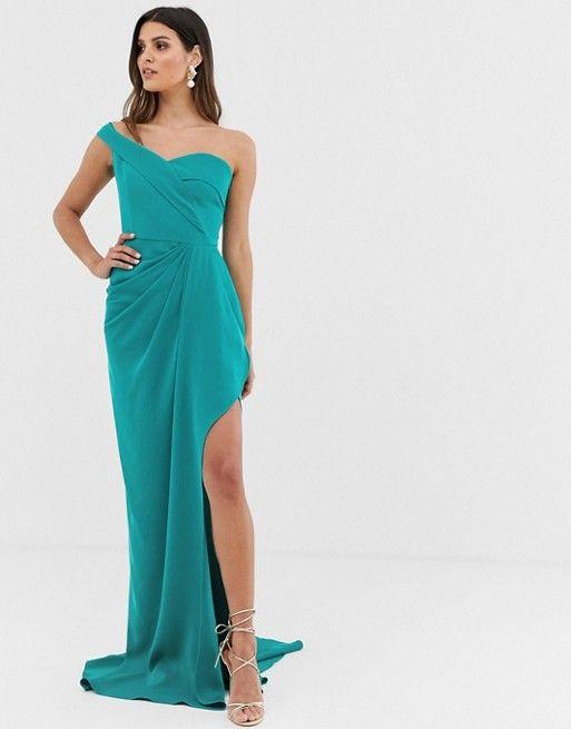 Yaura Bardot Maxi Dress With Thigh Split In Turquoise Dresses Maxi Dress Fashion