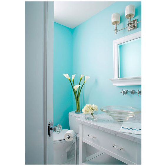 Bright Fresh Aqua Blue Wall Color Crisp White