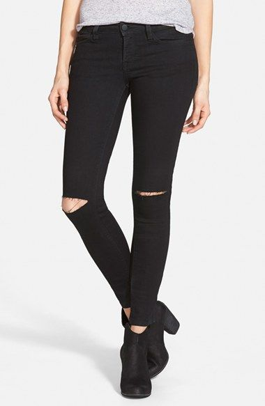 Junior Women&39s SP Black Ripped Knee Skinny Jeans (Black) (Online