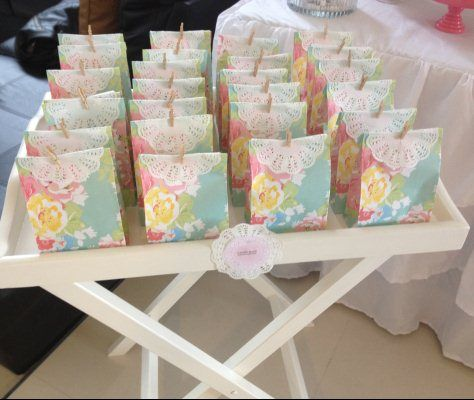 Kitchen tea favor bags peachy soirees parties for Bridal shower kitchen tea ideas