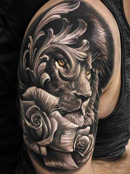 125 Best Lion Tattoos For Men In 2020 Mens Lion Tattoo Lion Shoulder Tattoo Cool Shoulder Tattoos