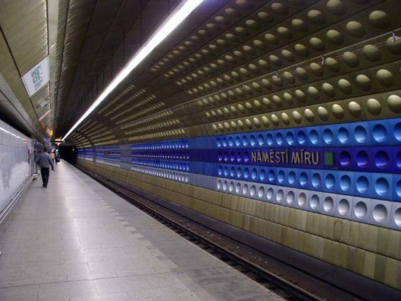 Namesti Miru Metro Station in Prague, Czech Republic