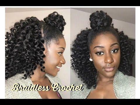 How To Braidless Crochet Top Knot Half Up Half Down Freetress Youtube Black Hairstyles Crochet Half Up Hair Half Up Half Down Hair