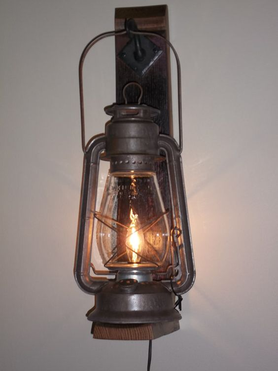 Wall Lamps Rustic : Rustic cabin lighting. Electric lantern wall fixture from BigRockLanterns Cabin Decorating ...
